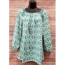 Erma's Closet Jade and White Print Baby doll Tunic